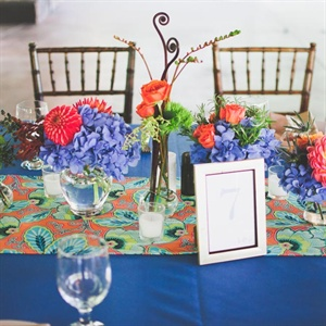 Bright Blue Table Decor