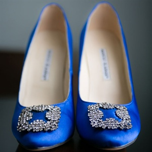 Blue Manolo Blahnik Bridal Shoes