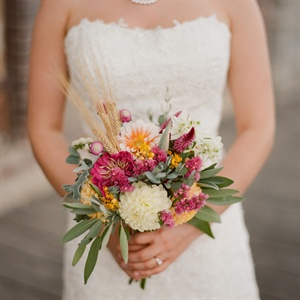 Hand-Picked Wheat and Floral Bridal Bouquet