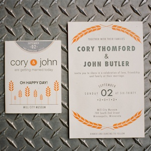 Wheat-Themed Wedding Invitations