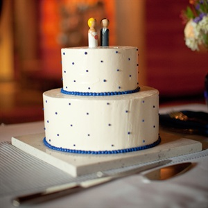 Blue and White Polka-Dot Cake