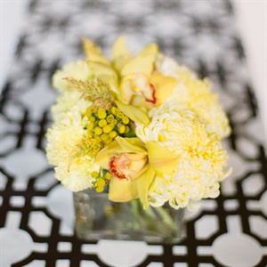 Low Yellow Square Centerpieces