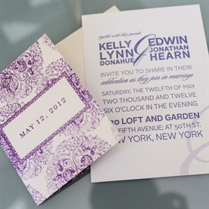 Modern Purple and White Invitations