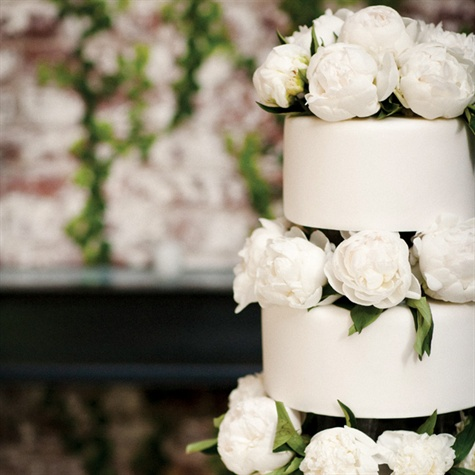 Peony-Decorated Wedding Cake