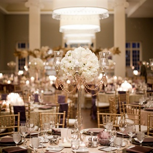 Gold Candelabra and Ivory Rose Centerpieces