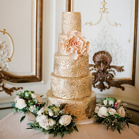 Embossed Gold Wedding Cake