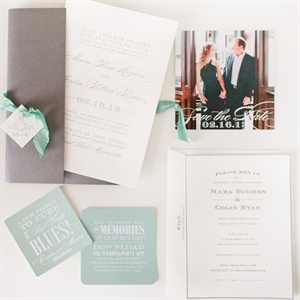 Modern Mint and Gray Invitation Suite