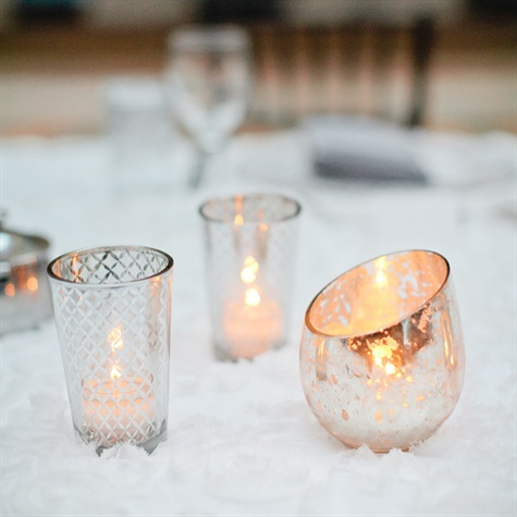Wintery Vintage Glass Votive Candle Holders