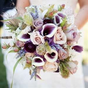 Wildflower and Pheasant Feather Bouquet