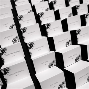 Black and White Floral Print Escort Cards