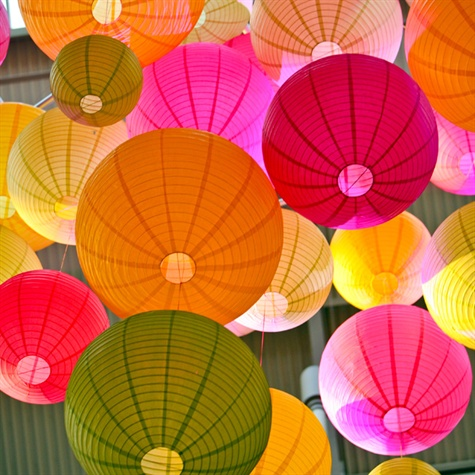 Brightly Colored Paper Lanterns