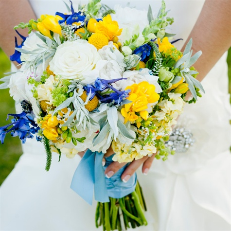 Yellow White And Blue Bridal Bouquet