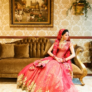 Red and Gold Indian Bridal Gown