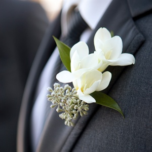 White Freesia and Seeded Eucalyptus Boutonniere