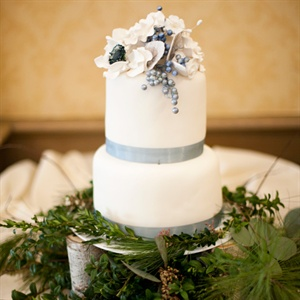 Silvery Blue and White Winter Wedding Cake