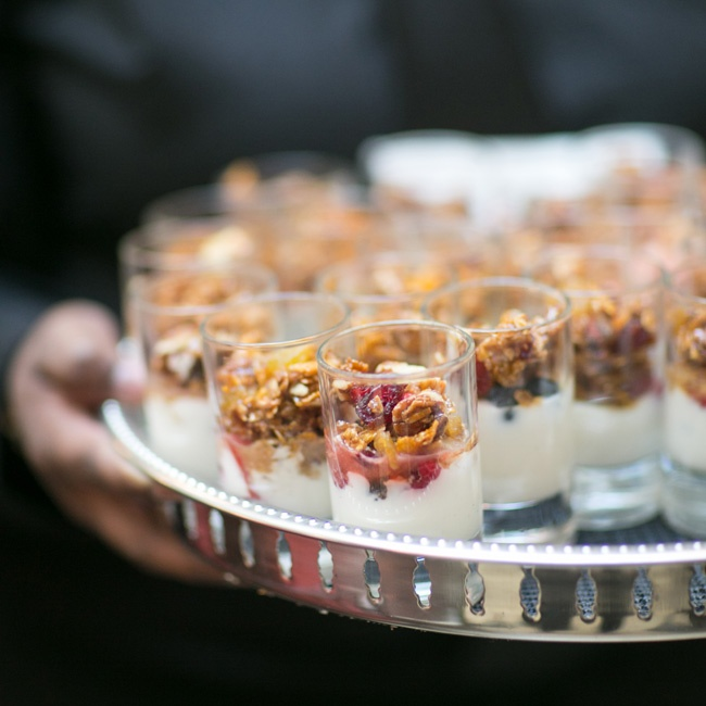 Courtney and Gavin served miniature yogurt parfaits for the first course of their brunch reception.