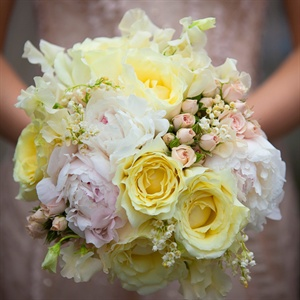 Peony, Garden Rose and Lily of the Valley Bouquet