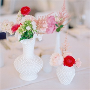 Shabby Chic Milk Glass Centerpiece Arrangements