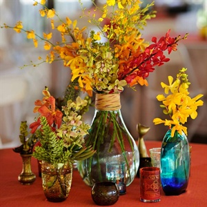Vintage Colored Glass Centerpieces