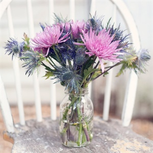 Purple and Blue Rustic Centerpieces