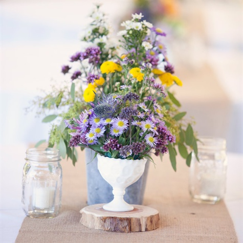 Yellow Button Mums And Blue Thistle Centerpiece