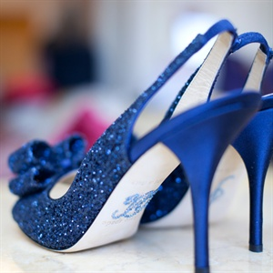 Blue Sequin Heels