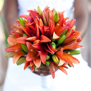 Coral Lily Bridal Bouquet