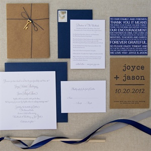Navy and White Invitations