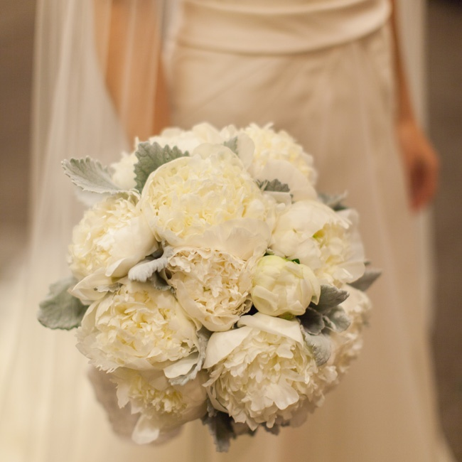 Leigh carried a bouquet made of cream peonies and dusty miller.