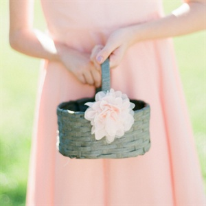 Gray Flower Girl Basket