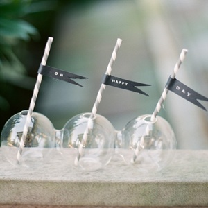 Gray and White Paper Straws