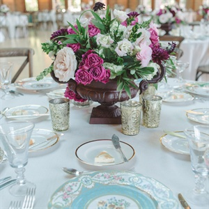 Vintage Style Pink Rose Centerpieces