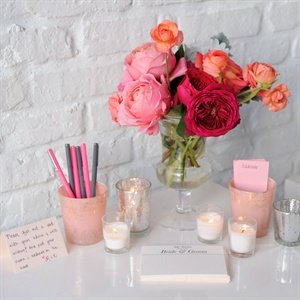 Vintage Blush and Silver Guest Book Table