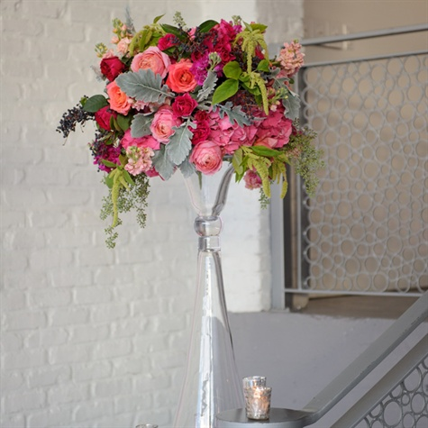 Tall Glass Pink And Green Floral Arrangements