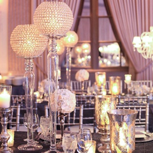 Upscale Gray and White Reception Decor