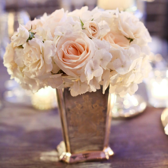 White rose and hydrangea centerpiece