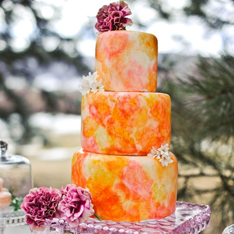 Marbleized Orange Wedding Cake