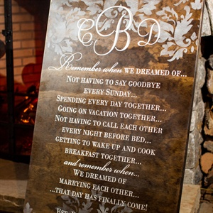 Sentimental Damask Wood Reception Sign