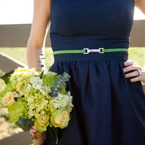 Belted Navy Blue Bridesmaid Dress