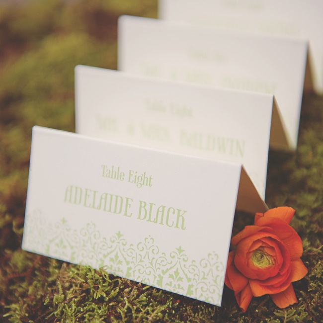 A simple, uniform stationery suite makes just the right impression. Tented escort cards on a bed of moss are pretty and practical. In 500 years other printing techniques have yet to come close to the lasting sophistication of letterpress--making it a vintage-wedding must.