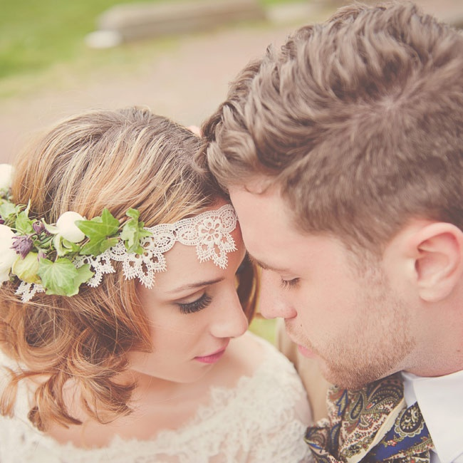 What could be more simultaneously hip and timeless than lace? Instead of a veil, play up the vintage glam with a lacy floral crown. A loose wavy 'do and soft makeup complete the Victorian-garden look.