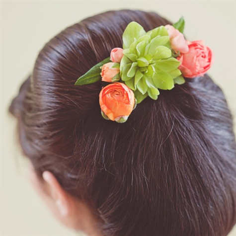 Succulent and Ranunculus Hair Piece