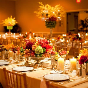 Fall Colored Reception Decor