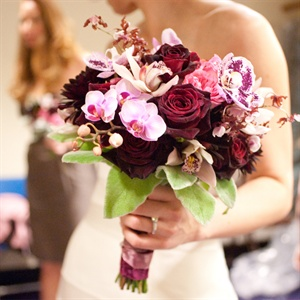 Purple Orchid and Deep Red Rose Bridal Bouquet