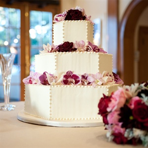 Orchid Decorated Wedding Cake