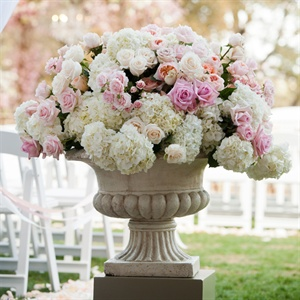 Hydrangea and Rose Filled Urn