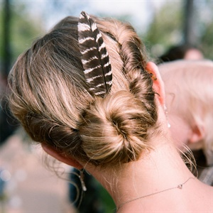 Bun Updo with Feather
