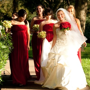 Red Empire Waist Bridesmaid Dresses
