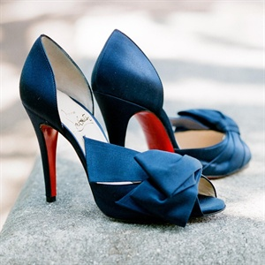 Dark Blue Christian Louboutin Bridal Shoes