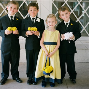 Yellow and Blue Flower Girl Dress